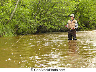 wisconsin trout fishing - wisconsin trout fisherman in...