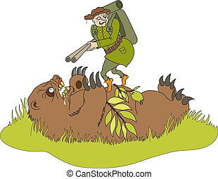 The bear doing an ambush on hunter - Hunter with rifle up on...