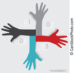 Hands. Abstract background for design, vector illustration.