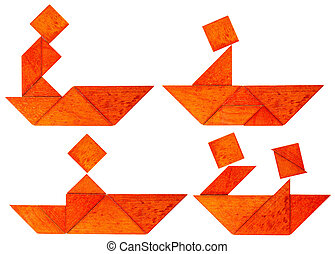 tangram fisherman or rower - four abstract pictures of a...