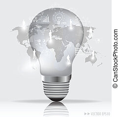 Light bulb with social networking concept. Vector...