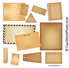 Vector set: Vintage postcard, envelope, stamp, card and blank paper designs.