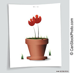 赤, 花, 植物, 粘土, ポット, ベクトル, イラスト