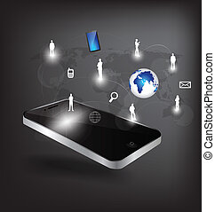 Modern technology mobile phone with social network. Vector...