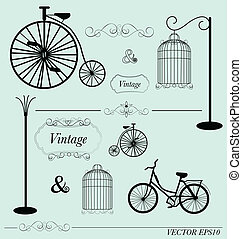 Vector set of vintage design elements, can be used for wall...