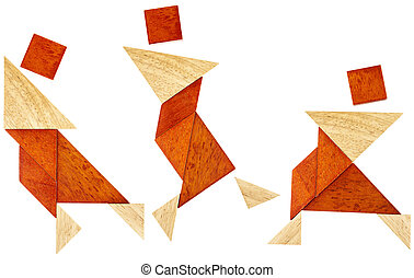 tangram dancer or martial fighter - three abstract figures...