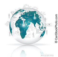 Modern globe with elements of infographics and graph Vector...
