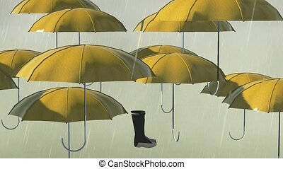 Umbrellas and wellies isolated