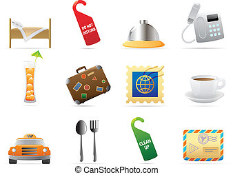 Icons for hotel and services. Vector illustration.