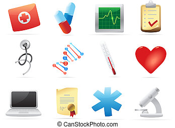 Icons for medicine. Vector illustration.