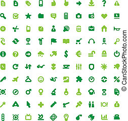 Green icons and signs - Set of one hundred green icons for...