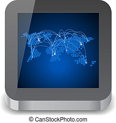 Icon for tablet computer with global communications world...