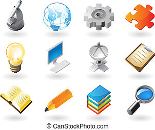 Isometric-style icons for science and industry - High...