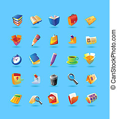 Realistic icons set for office - Realistic colorful vector...