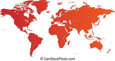 värld, röd, karta