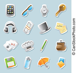 Icons for personal belongings - Sticker button set. Icons...