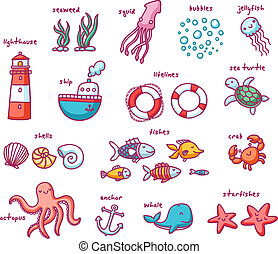 Set of 24 isolated doodles with sea creatures and nautical...