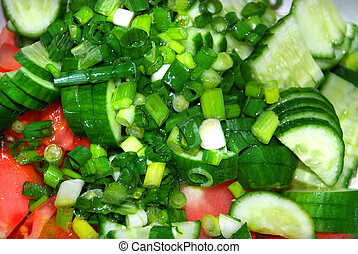 Salad - Cut vegetables for preparing russian salad