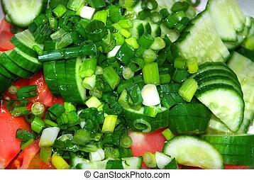 Salad - Cut vegetables for preparing russian salad.