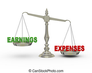 3d earnings and expenses on scale - 3d illustration of...