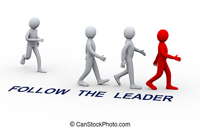 3d people following leader - 3d illustration of man joining...