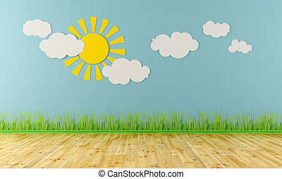 Empty child room with sun,clouds and grass on blue wall -...