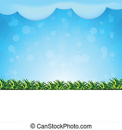 blue background with grass