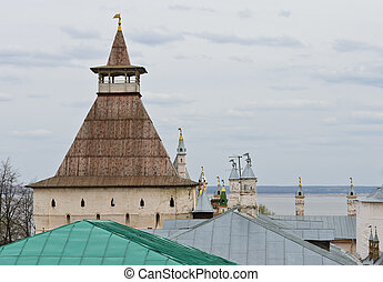 Rostov Kremlin - Wooden tower of Rostov Kremlin in Rostov...