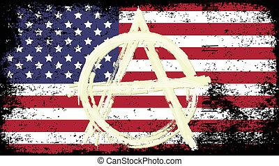 flag USA - grunge flag of USA with sign anarchy