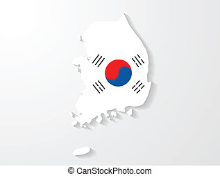 South Korea map with shadow effect