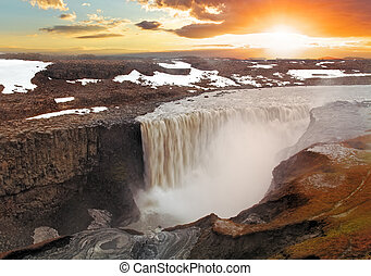 Iceland waterfal at sunset - Dettifoss