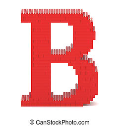 Letter B built from toy bricks - Letter B built from red toy...