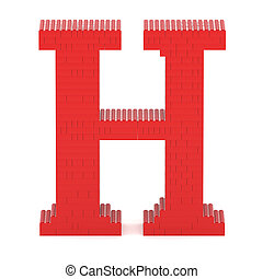 Letter H built from toy bricks - Letter H built from red toy...
