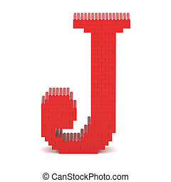 Letter J built from toy bricks - Letter J built from red toy...