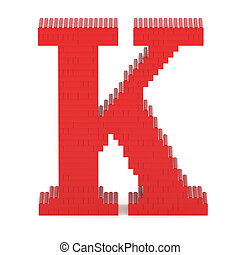 Letter K built from toy bricks - Letter K built from red toy...