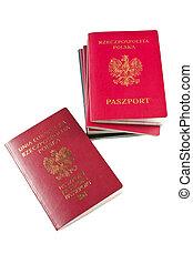 パスポート, 上に, 白, 背景