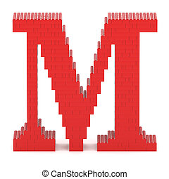 Letter M built from toy bricks - Letter M built from red toy...