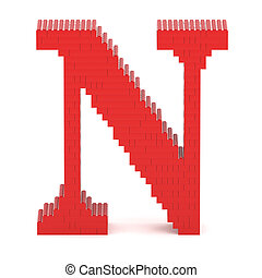 Letter N built from toy bricks - Letter N built from red toy...