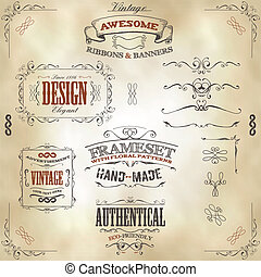 Hand Drawn Vintage Banners And Ribbons - Illustration of a...