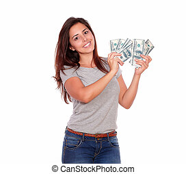 Charming and smiling young woman with cash dollars -...