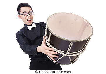 Funny man with drum on white