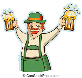 Oktoberfest man with glasses of beer.Vector illustration...