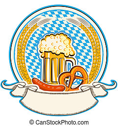 Oktoberfest label with beer and food Bavaria flag background...