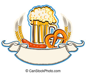 Oktoberfest symbol with beer and traditional food and scroll...