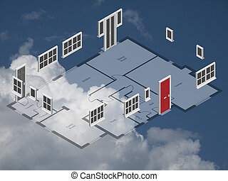 House plan - Isometric schematic house plan doors and...