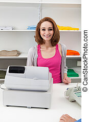 Young Female Cashier With Cash Register - Happy Young Female...