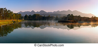 Fish pond at sunset in Tatras
