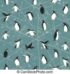 Penguin pattern - Seamless pattern with little cute penguins...