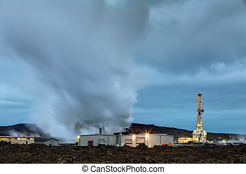 Geothermal power plant at night