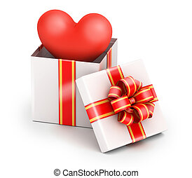 Love in gift box - Love from gift box with yellow ribbon on...